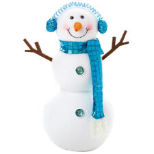 Peppermint Standing Snowman - Frosty Christmas decoration for shelf or window