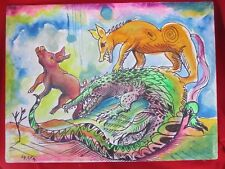 Mexican Folk Art Miguel Hernandez Wild Alligator, Pig & Dog Painting On Canvas