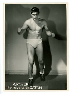 Vintage 1949 French International Male Wrestler Roger Royer Photo Bulge Gay Int.