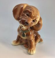 Vintage Royal Copley Puppy Dog Brown Cocker Spaniel Figurine Pottery Dated 1946
