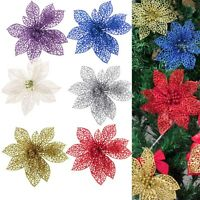6Color Newly Glitter Wedding Party Decor Christmas Flowers Xmas Tree Decoration