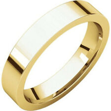 4mm 14K Solid Yellow Gold Plain Flat Comfort Fit Wedding Band Ring All Sizes