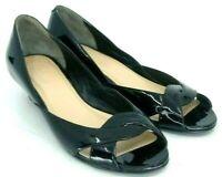Cole Haan Air Darleen Pump Women's 5 B Black Patent Snake Print Wedge Heel Shoes