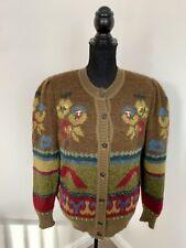 BASLER Vintage Mohair Wool Alpaka Chunky Knit Floral Cardigan Size 12 Knitwear