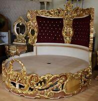 Barock Bett Rokoko Doppelbett rund gold MkBd2000 antik Stil Massivholz. Replizie