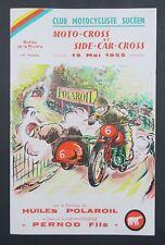 Programme MOTO-CROSS DU MUGUET Side-car 1955 Polaroil Vespa Peugeot Lambretta