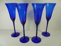"Vintage Set of 4 Tall Festive Party Cobalt Blue Wine Champagne Flutes 10½"""