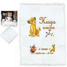 plaid couverture bébé lion personnalisé cadeau naissance prenom texte réf 20