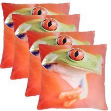 4 Statement Bright Tree Frog Eyes Orange Sofa Cushion Covers