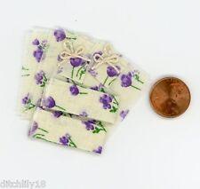 Miniature Dollhouse 8 Pc Dish Towel Set / Ecru w/ Purple Flowers