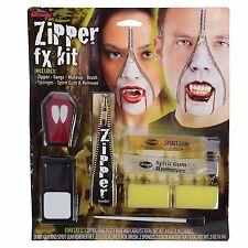 Halloween Vampiro Cremallera Cara Kit Cremallera Dientes colmillos Special FX Maquillaje Gore