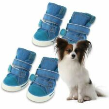 4 Pcs Pet Dog Shoes Anti-Slip Canvas Boots Paw Protector For Teddy Dogs Durable