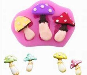 Mushrooms Toadstool Silicone Mould Fairy Garden Cake Decor Fondant Icing Baking