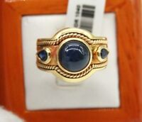 LADIES SOLID 18K YELLOW GOLD RING WITH CABOCHON SAPPHIRE & PEAR SAPPHIRES