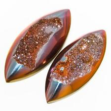 "1"" PAIR US-MADE SUNSET TITANIUM DRUZY DRUSY 25x10MM 13.5CT cabochon"