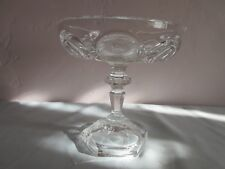 FINE CRYSTAL PEDESTAL CANDY DISH WITH ETCHED ROSES