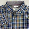 Jos A Bank 1905 Button Up Shirt Mens Large Tailored Fit Blue Brown Plaid L/S