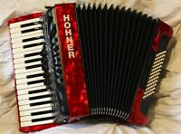 Piano Accordion Hohner Bravo III 72 bass RED 3v SILENT KEY GigBag Light weight