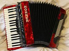 Piano Accordion Hohner Bravo III 72 bass RED 3v SILENT KEY GigBag Light weight