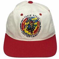 VINTAGE Cabin Fever Snowboard Baqueira Beret Spain Embroidered Snapback Hat Cap