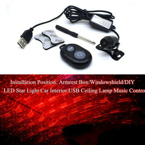 LED Star Light Car Truck USB Ceiling Lamp Music Control Tool Universal w/Remote