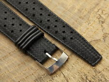 Vintage 19mm black rubber perforated skin divers watch band Tropic type 11319