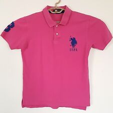 US Polo Assn USPA Mens Polo Shirt Pink Big Pony Logo Navy Number 3 Size Small
