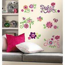 New LOVE JOY PEACE WALL DECALS 35 Big Flowers Stickers Deco Flower Bedroom Decor