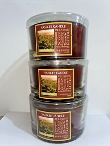 ☆☆WARM TOBACCO☆☆LOT OF 3 YANKEE CANDLE 3 WICK CANDLES 17OZ☆☆FREE SHIPPING