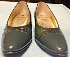 Bruno Magli Pump Women's 7 AAAA Green Embossed Crocodile Slip On Heel Shoe Italy