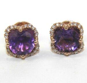 Natural Round Purple Amethyst & Diamond Halo Stud Earrings 14K Rose Gold 3.90Ct