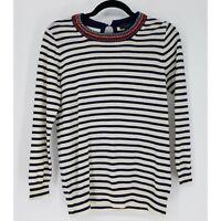 J.Crew Women's Size Small Sweater 100% Merino Wool Beaded Blue Cream Striped