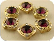 2 Hole Beads Crystal Gala 8mm Amethyst Swarovski Elements GOLD ~ Sliders QTY 6