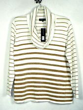 Jones New York Woman 2X Cotton Cowl Neck Sweater Gold Cream Knit Top NWT New