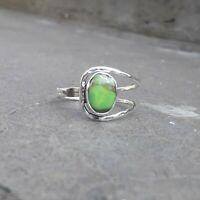 Green Turquoise Solid 925 Sterling Silver Anxiety Ring Meditation Ring SR035