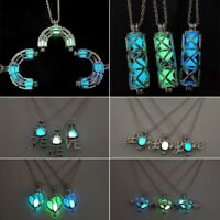 Hot Geometric Love Mom Silver Glow In The Dark Hollow Pendant Necklace Jewelry