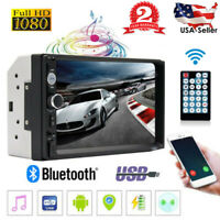 """7"""" 1080P 2 Din Car Stereo Radio FM MP5 Player Bluetooth Touch Screen Rear Camera"""