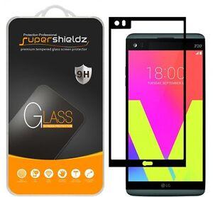 Supershieldz Full Coverage Tempered Glass Screen Protector for LG V20 (Black)