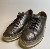 Shabbies Amsterdam Ladies Shoes. Low Espadrilles Size 8  leather metallic pewter