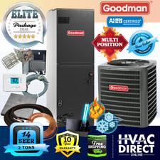 Goodman 2 Ton 14 Seer Ac System w/Aux Electric Heat + Line Set Install Kit