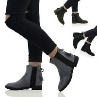 Womens Chelsea ankle Boots Elastic Gusset Ladies Flat Riding Biker Booties Size