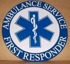 Ambulance Service First Responder vinyl sticker.