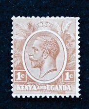 Stamps KGV Kenya & Uganda SG 76 (1922) 1c Brown, Fine Mounted Mint