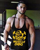 Men's Gym Muscle Dog Stringer Bodybuilding Cotton Fitness Training Tank Top Vest