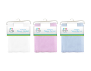 Baby Fleece Blanket. 76cm x 101cm. Boy-Girl, Super Soft Luxury for Pram Car Crib