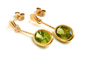 9ct Gold Peridot Drop oval earrings Gift Boxed Made in UK