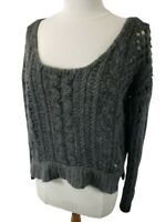 FREE PEOPLE Womens Sweater Sz M MD Cropped Boho Gray Loose Knit Off Shoulder