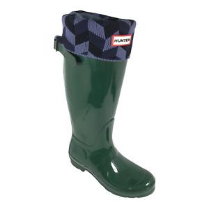 Hunter Womens Original Tall Green Sock Liners Gloss Knee High Rain Boots Size 7