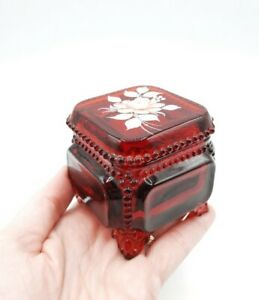 Vtg 1979 Westmoreland Flower Hand Painted Ruby Beaded Trinket Box Signed AS IS