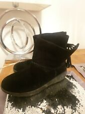 FitFlop Womens Black Suede Mukluk Shorty II Boot Size uk 6